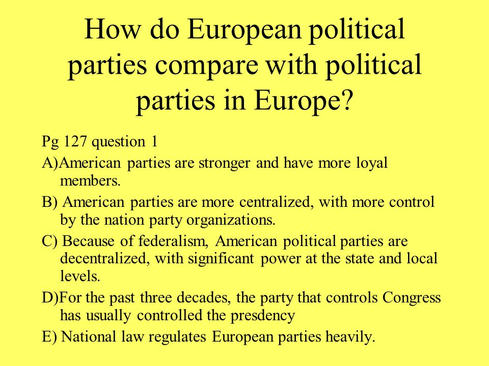 How do European political parties compare with political parties in Europe