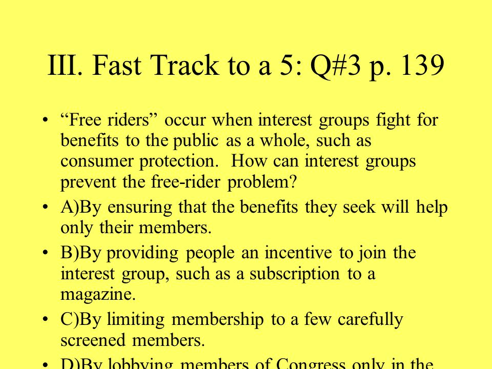 III. Fast Track to a 5: Q#3 p. 139