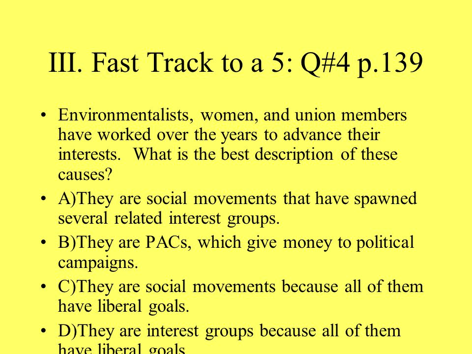 III. Fast Track to a 5: Q#4 p.139