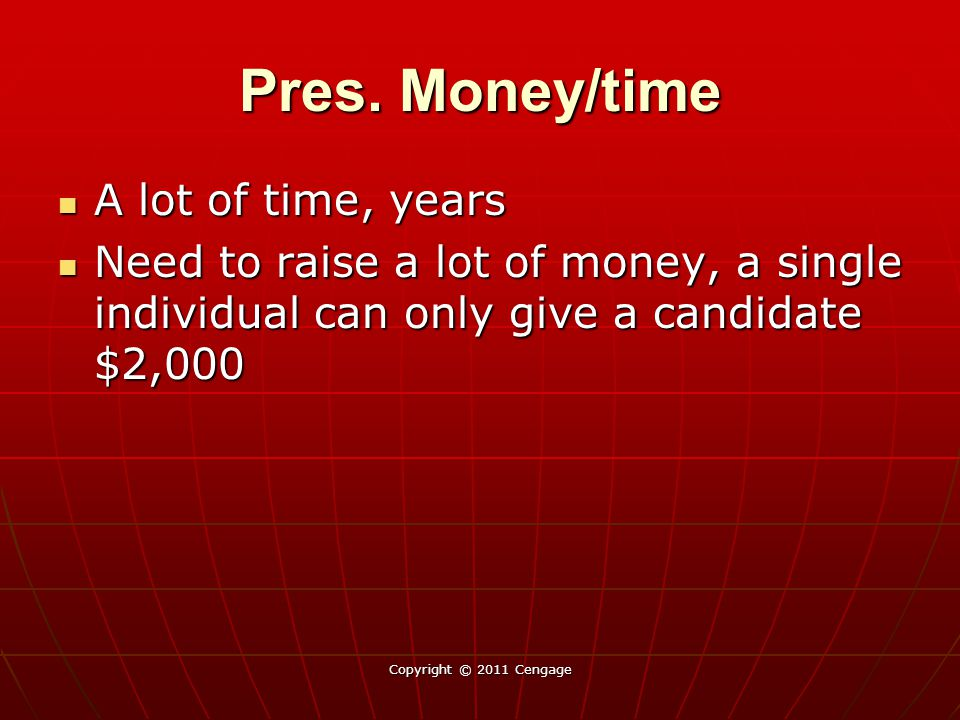 Pres. Money/time A lot of time, years