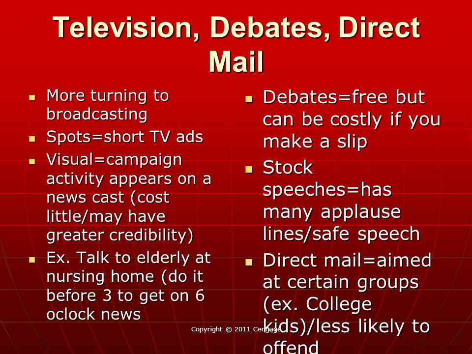 Television, Debates, Direct Mail