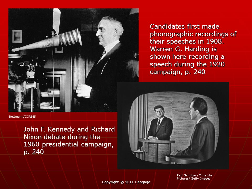 Candidates first made phonographic recordings of their speeches in 1908. Warren G. Harding is shown here recording a speech during the 1920 campaign, p. 240