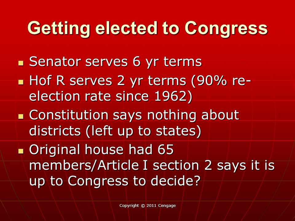 Getting elected to Congress