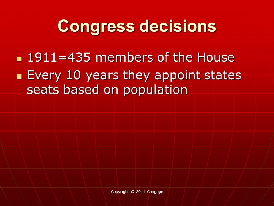 Congress decisions 1911=435 members of the House