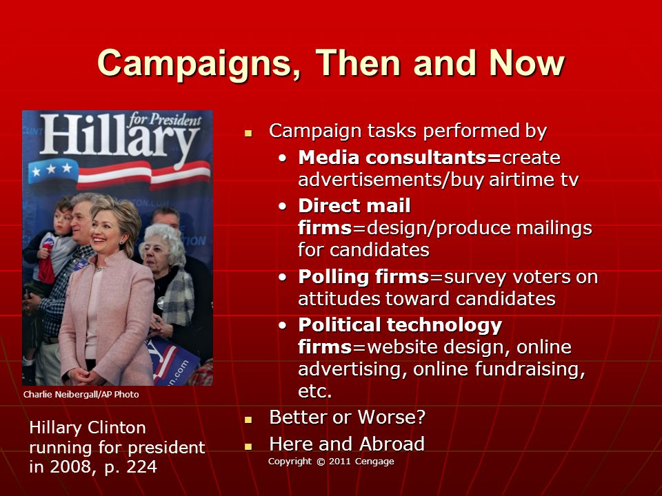 Campaigns, Then and Now Campaign tasks performed by