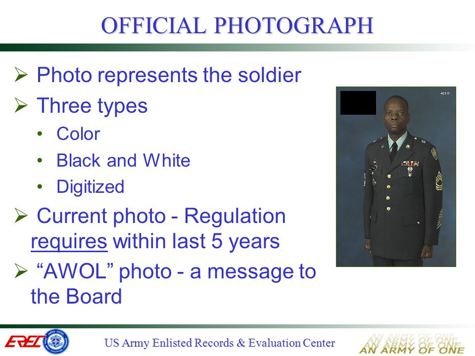 OFFICIAL PHOTOGRAPH Photo represents the soldier Three types