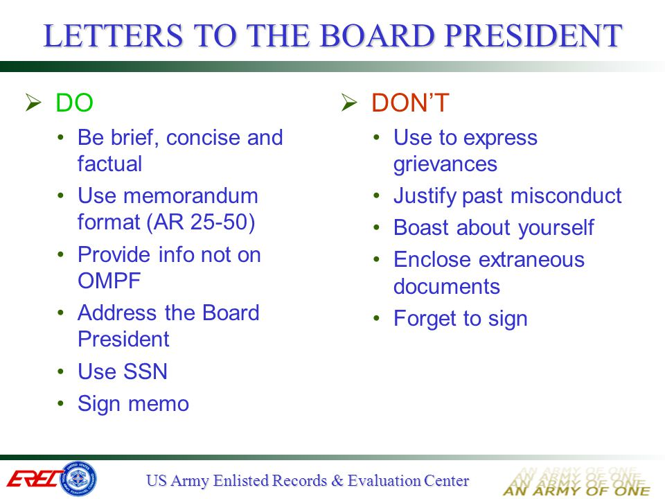 LETTERS TO THE BOARD PRESIDENT