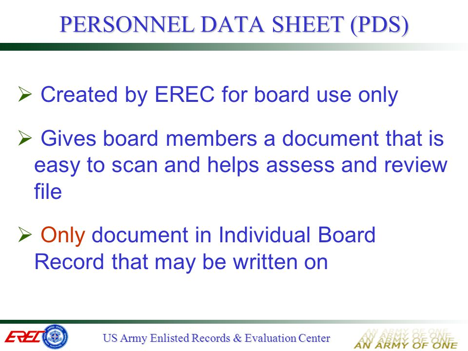 PERSONNEL DATA SHEET (PDS)