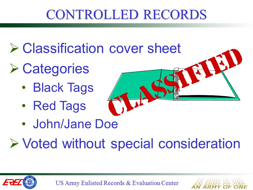 Classification cover sheet Categories