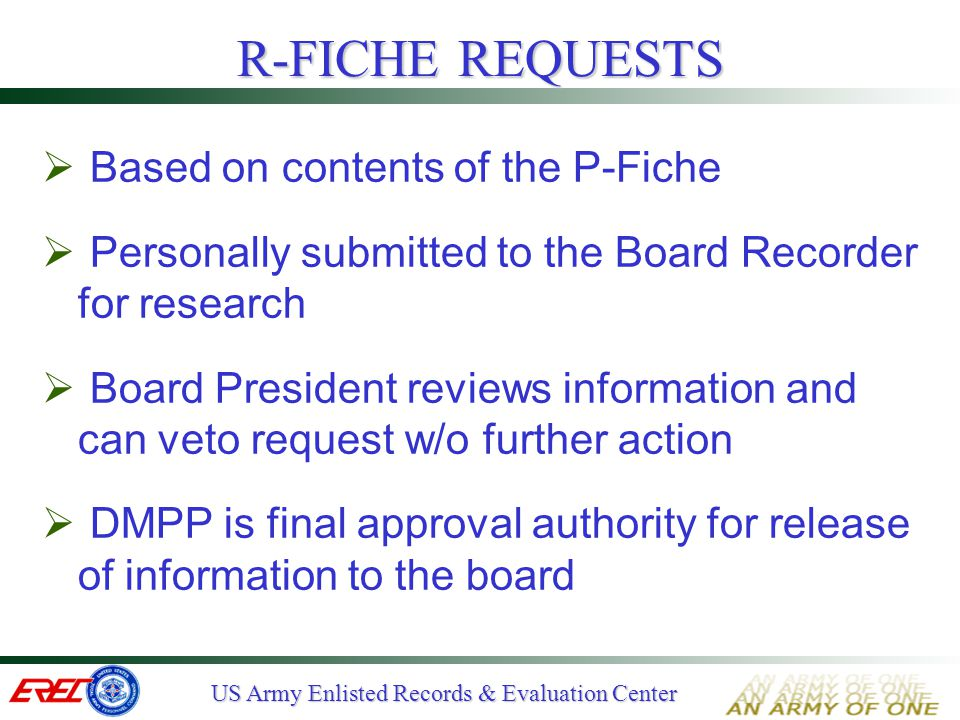 R-FICHE REQUESTS Based on contents of the P-Fiche