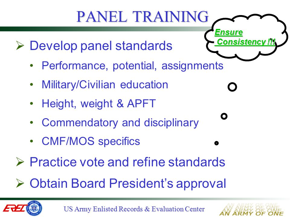PANEL TRAINING Develop panel standards