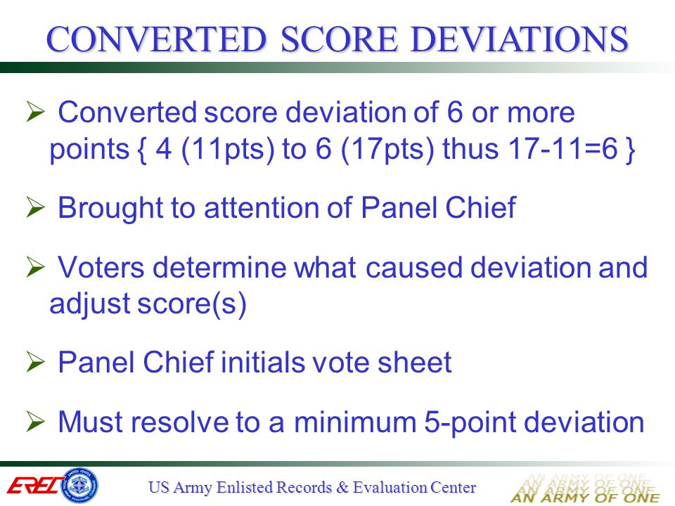 CONVERTED SCORE DEVIATIONS