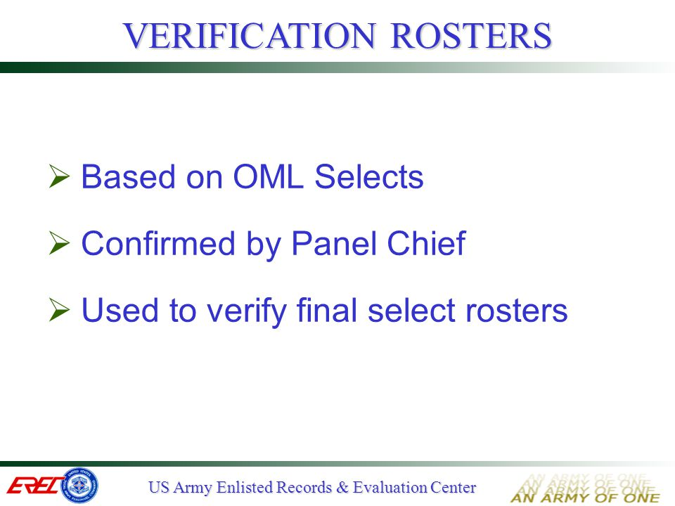 VERIFICATION ROSTERS Based on OML Selects Confirmed by Panel Chief
