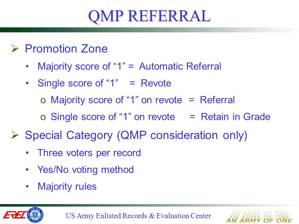 QMP REFERRAL Promotion Zone Special Category (QMP consideration only)