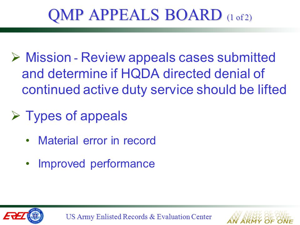 QMP APPEALS BOARD (1 of 2)