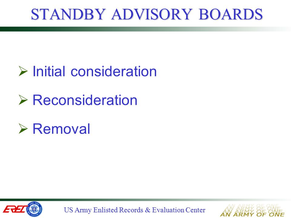 STANDBY ADVISORY BOARDS