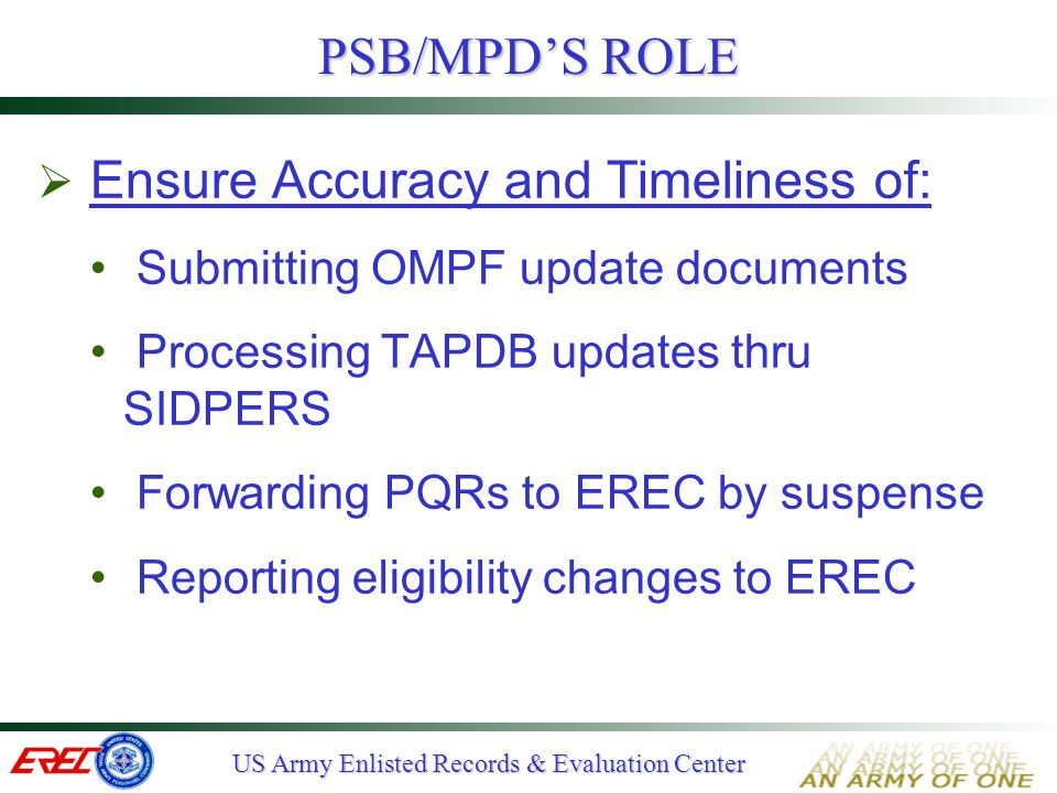 PSB/MPD'S ROLE Ensure Accuracy and Timeliness of: