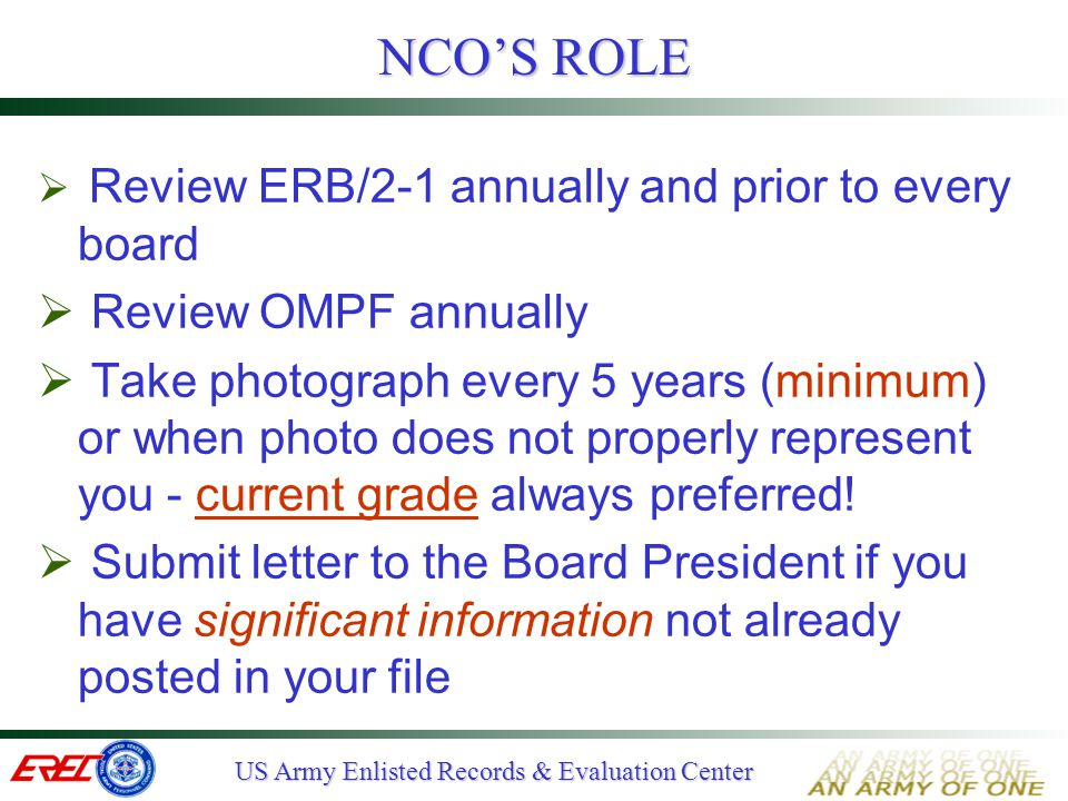 NCO'S ROLE Review OMPF annually