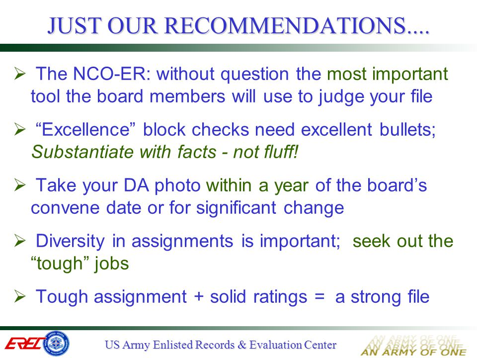 JUST OUR RECOMMENDATIONS....