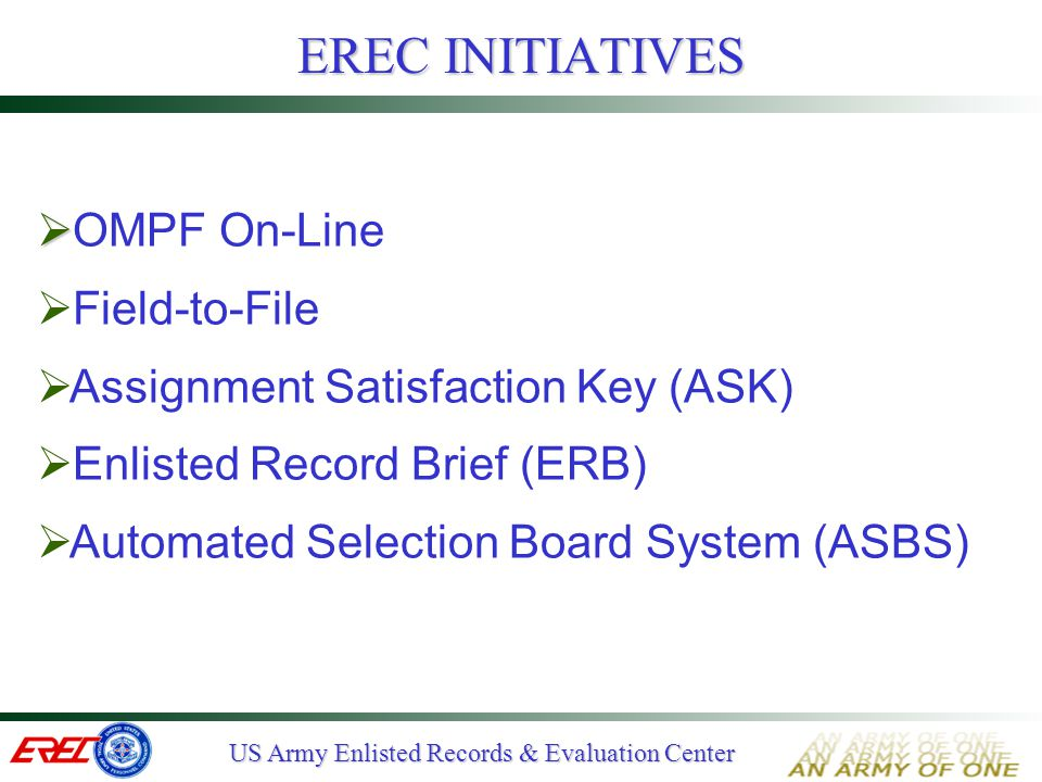 EREC INITIATIVES OMPF On-Line Field-to-File