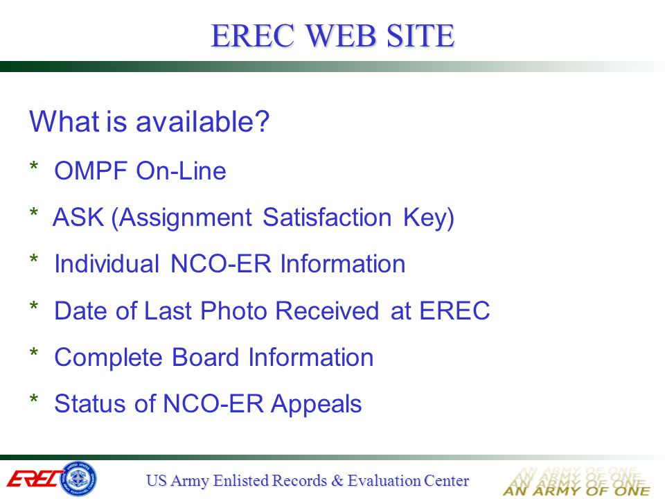 EREC WEB SITE What is available OMPF On-Line