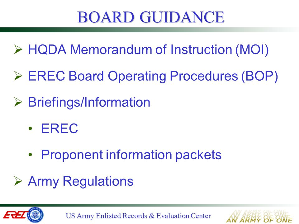 BOARD GUIDANCE HQDA Memorandum of Instruction (MOI)