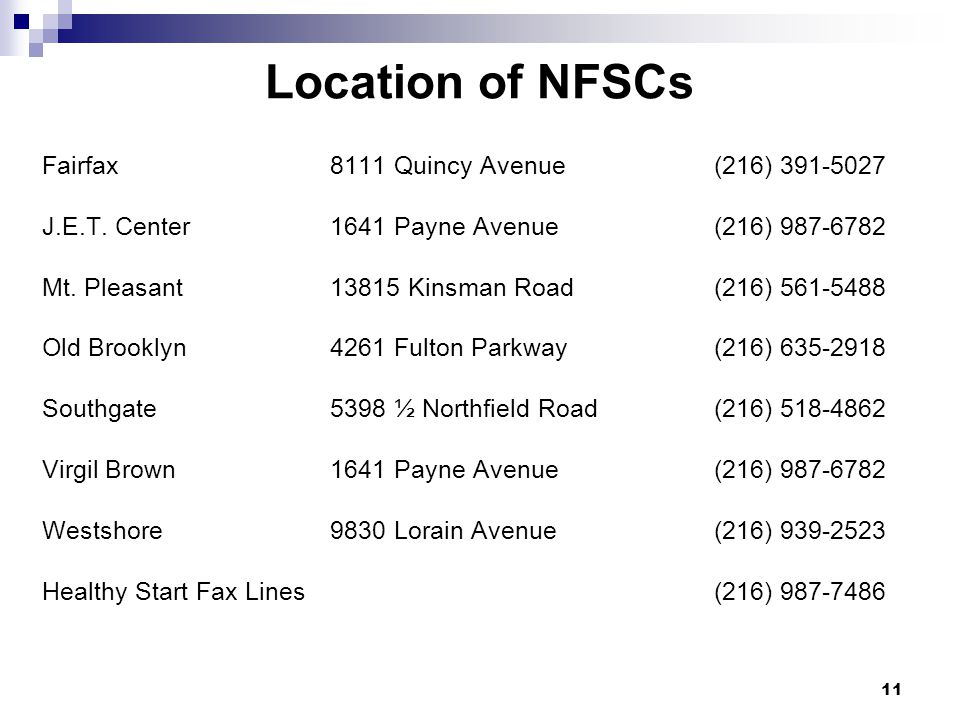 Location of NFSCs Fairfax 8111 Quincy Avenue (216) 391-5027