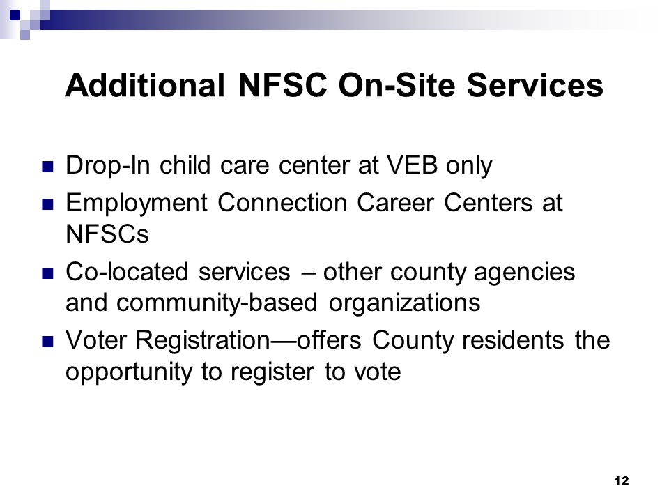Additional NFSC On-Site Services