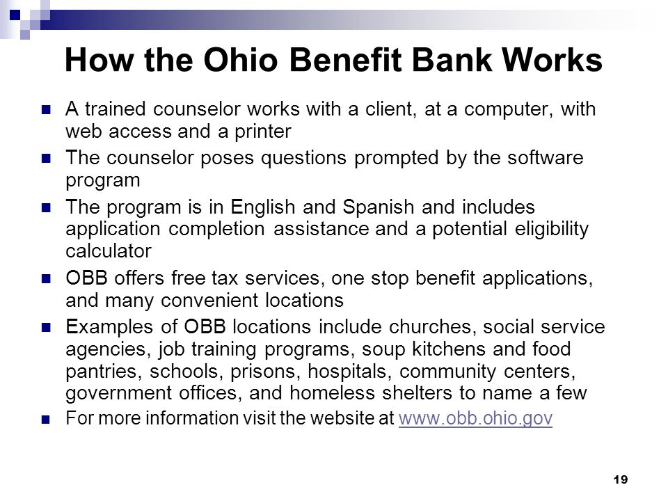 How the Ohio Benefit Bank Works