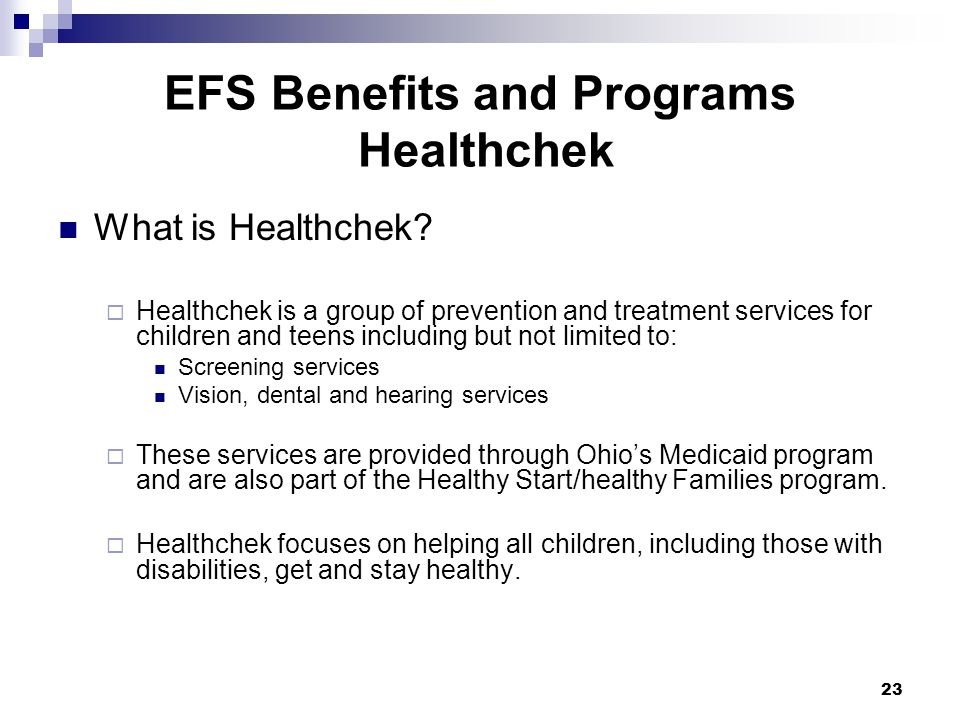 EFS Benefits and Programs Healthchek