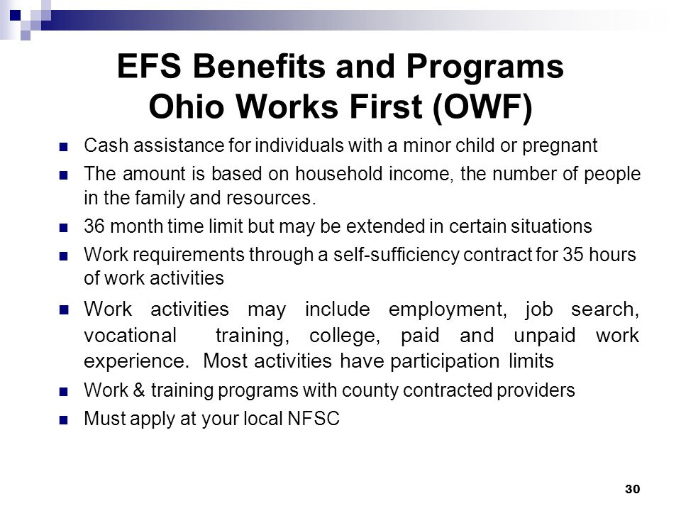 EFS Benefits and Programs Ohio Works First (OWF)