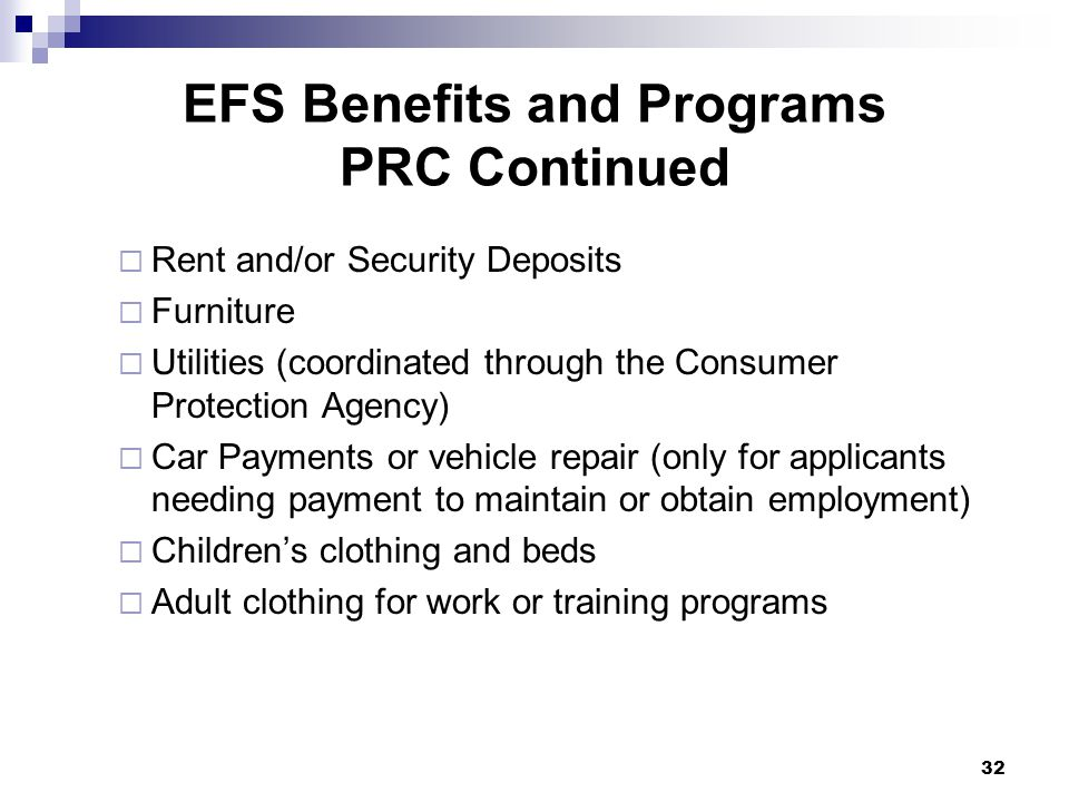 EFS Benefits and Programs PRC Continued