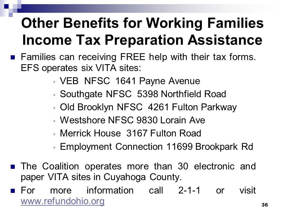 Other Benefits for Working Families Income Tax Preparation Assistance