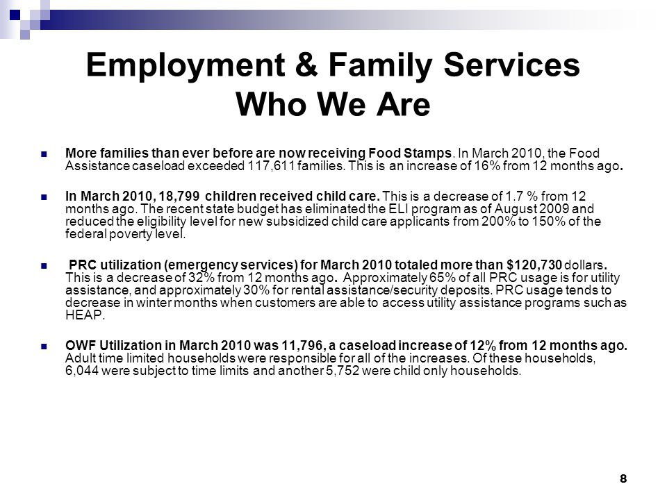 Employment & Family Services Who We Are