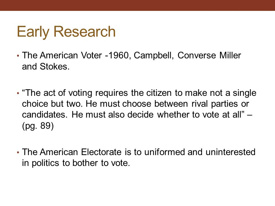 Early Research The American Voter -1960, Campbell, Converse Miller and Stokes.