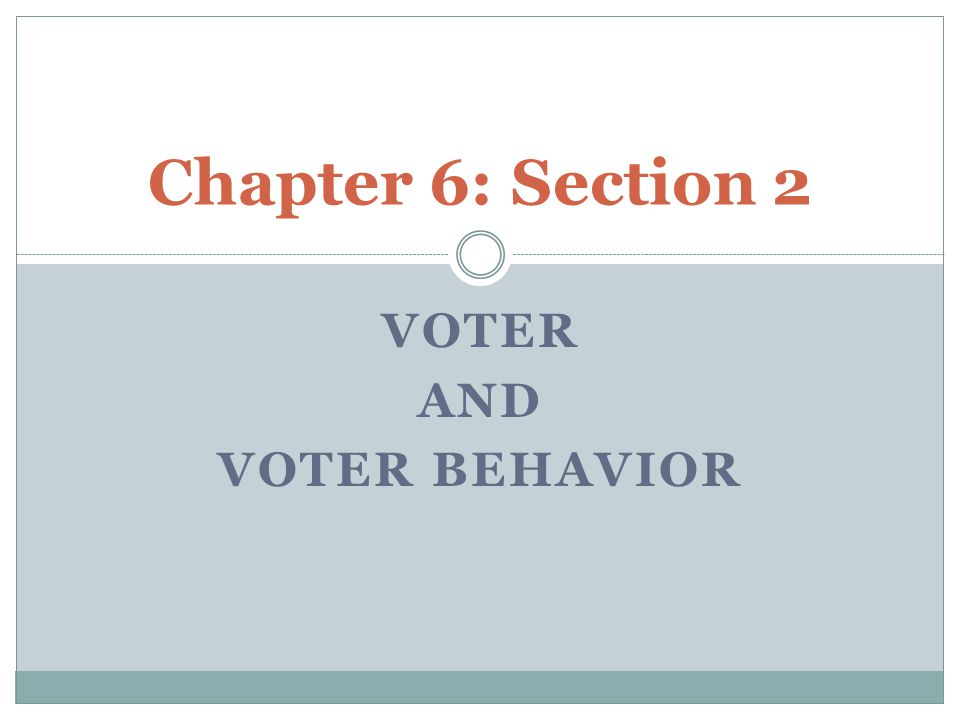 Voter and Voter Behavior