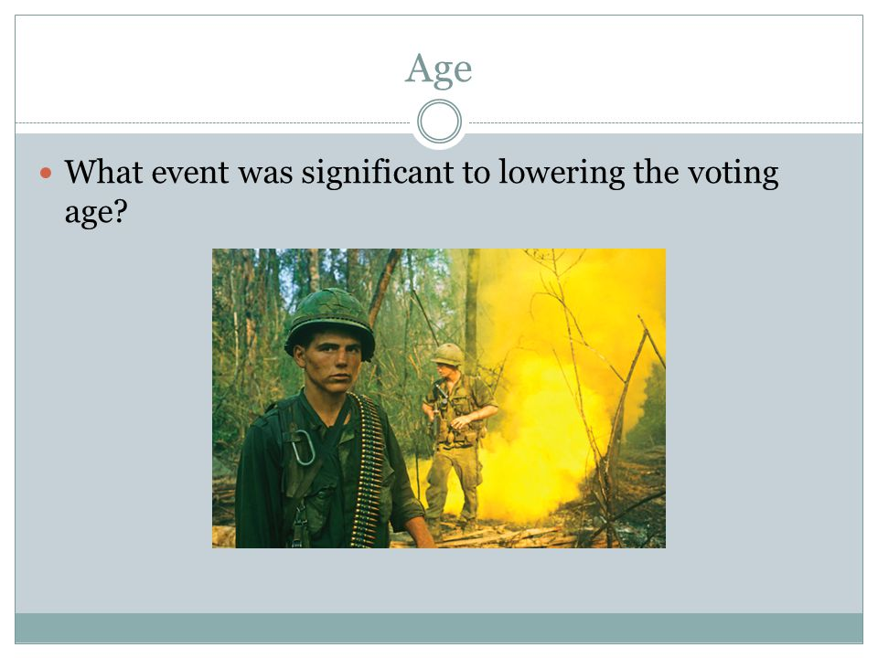 Age What event was significant to lowering the voting age