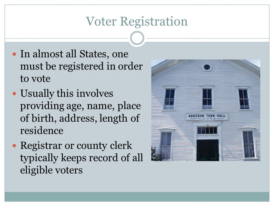 Voter Registration In almost all States, one must be registered in order to vote.
