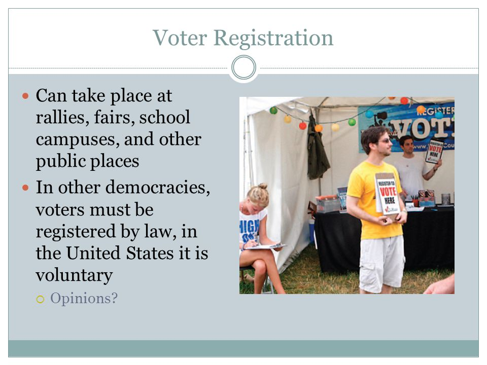 Voter Registration Can take place at rallies, fairs, school campuses, and other public places.