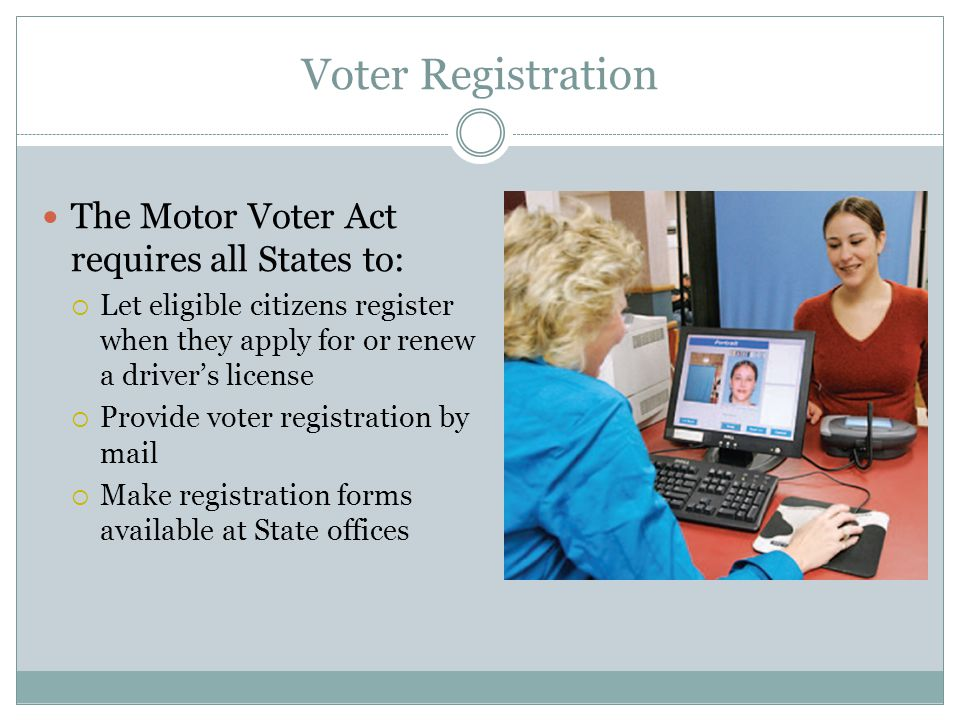 Voter Registration The Motor Voter Act requires all States to: