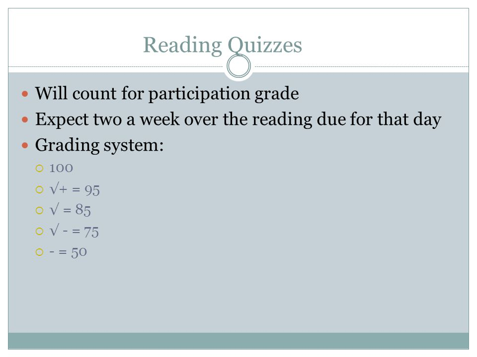 Reading Quizzes Will count for participation grade