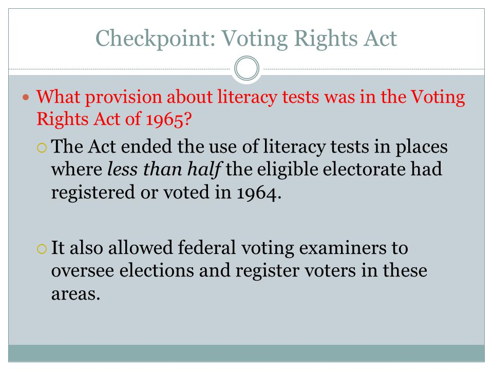 Checkpoint: Voting Rights Act
