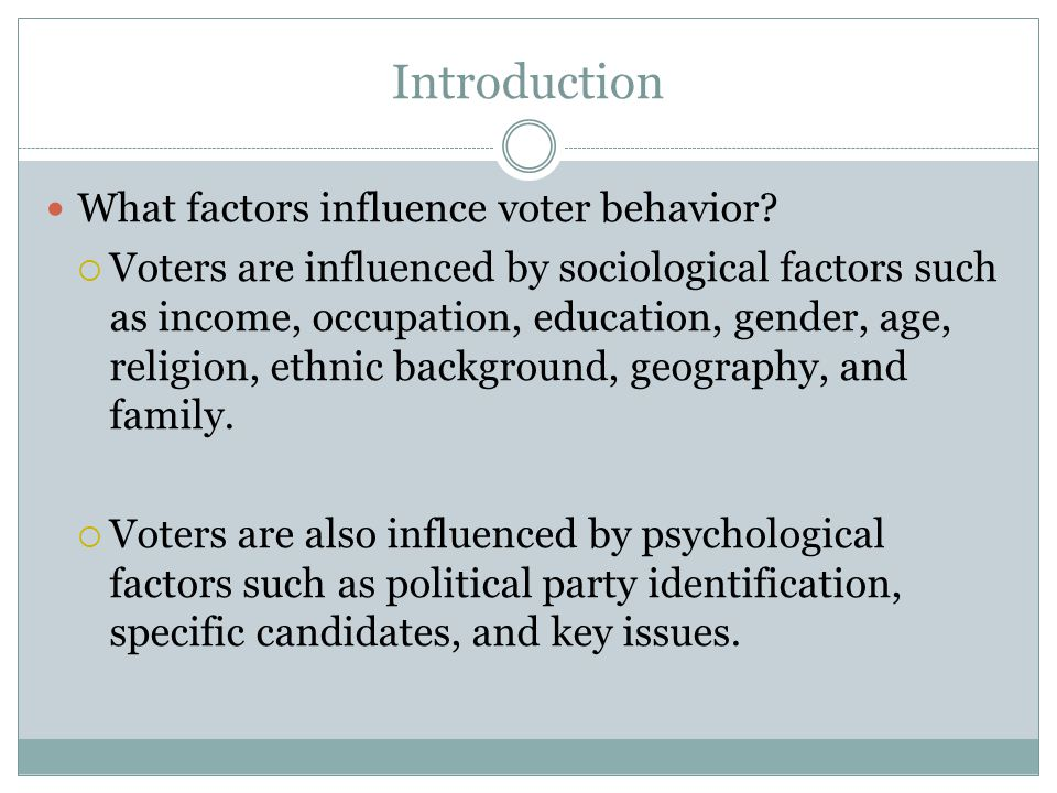 Introduction What factors influence voter behavior
