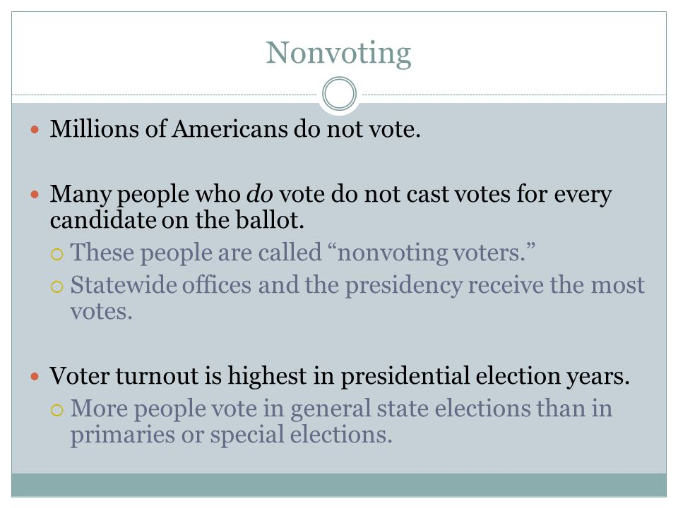 Nonvoting Millions of Americans do not vote.
