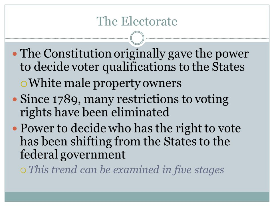 The Electorate The Constitution originally gave the power to decide voter qualifications to the States.