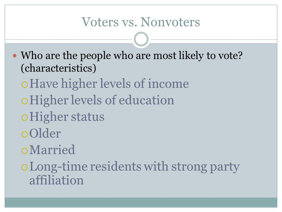 Voters vs. Nonvoters Have higher levels of income