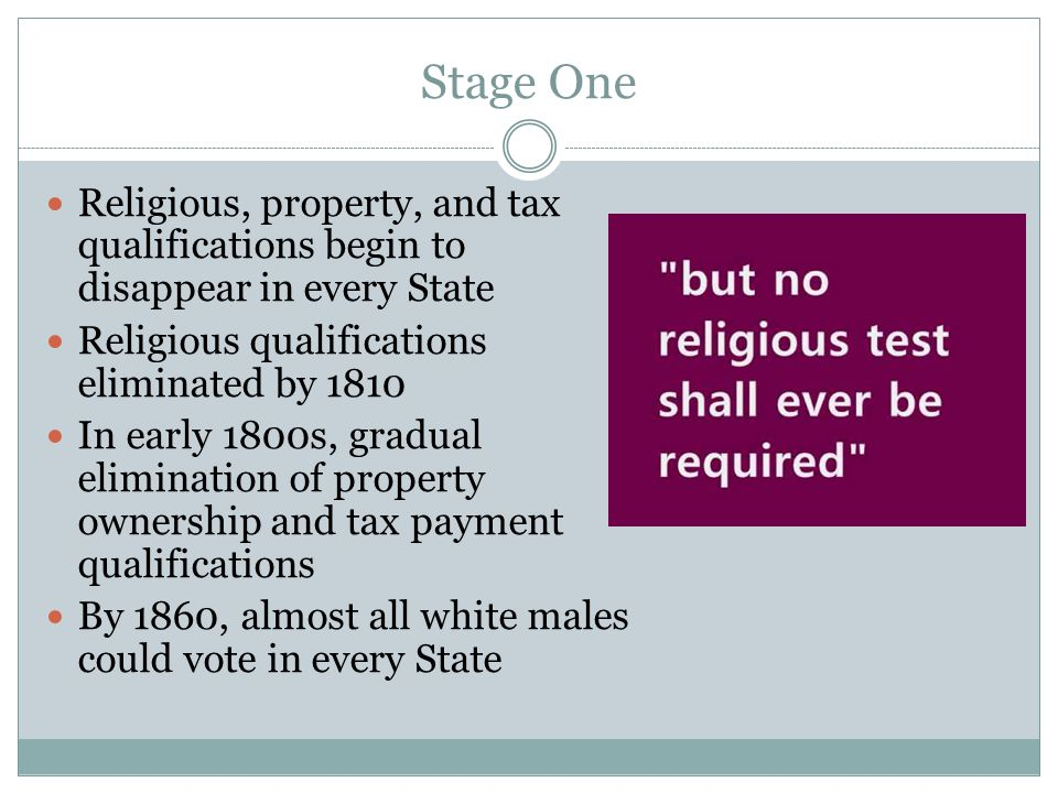 Stage One Religious, property, and tax qualifications begin to disappear in every State. Religious qualifications eliminated by 1810.