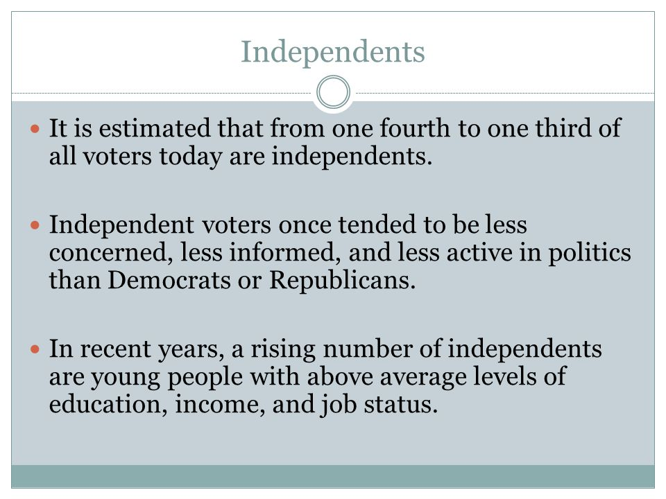 Independents It is estimated that from one fourth to one third of all voters today are independents.