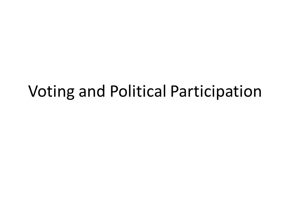 Voting and Political Participation