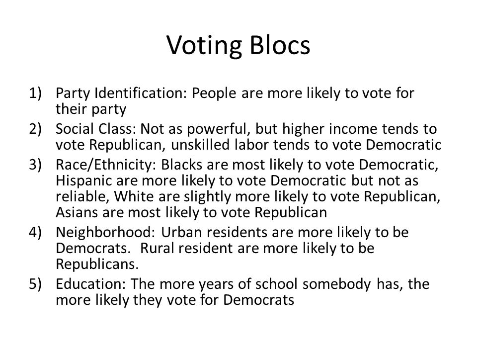 Voting Blocs Party Identification: People are more likely to vote for their party.